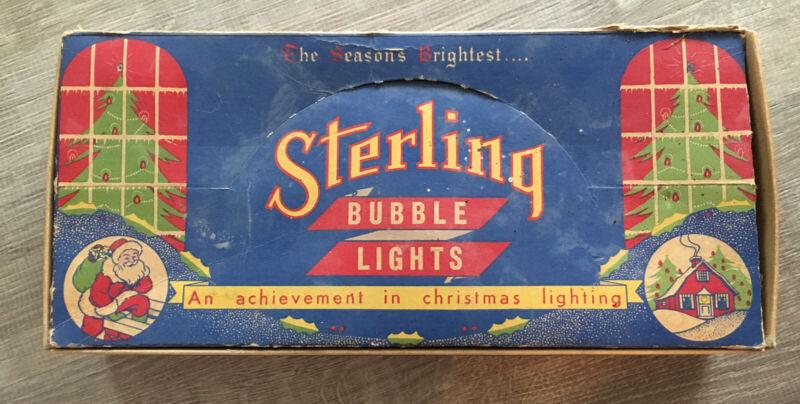 Vintage Christmas 10 Bubble Light Bulbs Sterling  orig. Box Must See