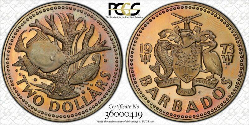 1973-FM BARBADOS $2 DOLLARS BU PCGS PR67DCAM KM-15  GRADED TONE POP 7 ONLY!