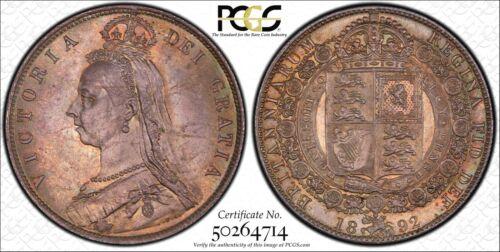 1892 Great Britain 1/2 Cr - Silver Half Crown - PCGS MS64 - Nice Original Color!