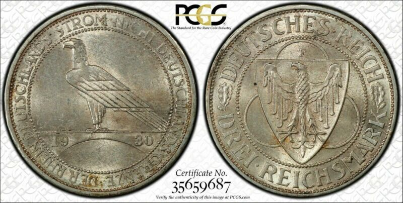 1930-F Germany 3 Mark Rhineland PCGS MS62 Lot#G581 Silver!