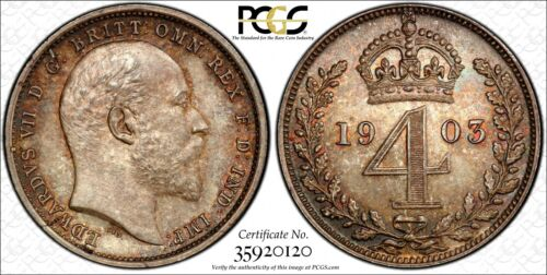 Great Britain Edward VII Silver 1903 4 Pence PCGS PL64 PROOFLIKE TONED KM#798