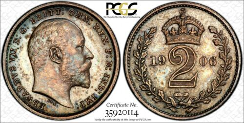 Great Britain Edward VII Silver 1906 2 PENCE PCGS PL64+ PROOFLIKE TONED KM# 796