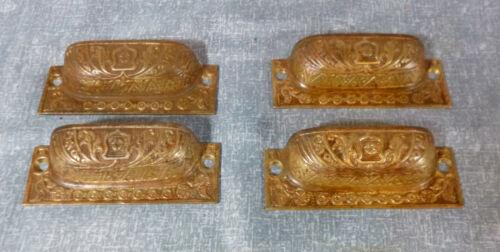 Antique Victorian Era Brass Bin Pulls B - Set of 4