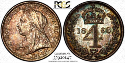 Great Britain Victoria Silver 1898 4 Pence PCGS PL62 PROOFLIKE NICE TONED KM#778