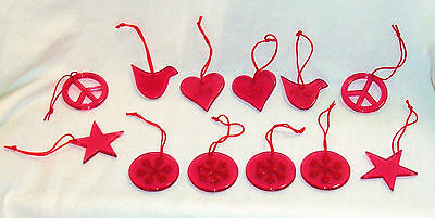 Red Christmas Ornaments Peace Love Snowflake Star Peace Sign Acrylic 12 - Peace Sign Ornaments