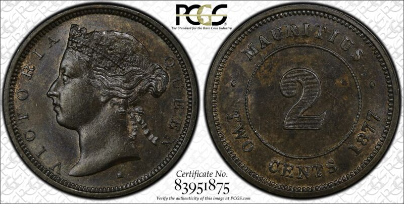Mauritius 2 Cents 1877 H MS62 BN PCGS bronze KM#8 VERY SCARCE
