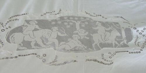 Antique Filet Lace Bed Cover Sheet Angels Cherubs Mytholgical Scenes