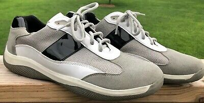 - Prada White Leather Mesh Low Top Sneakers Size Men's 12 US Designer Fashion