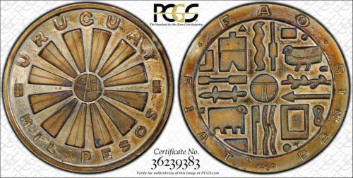 1969-So URUGUAY 1000 PESOS PCGS GENUINE SILVER COLOR TONED COIN