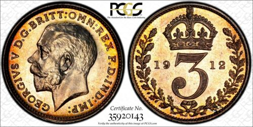 Great Britain George V Silver 1912 3 Pence PCGS PL65 PROOFLIKE TONING KM#813