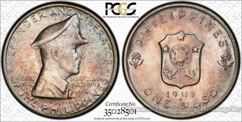 Philippines 1 Peso 1947 S MS65 PCGS silver KM#185 MacArthur Gem Pastel Hues