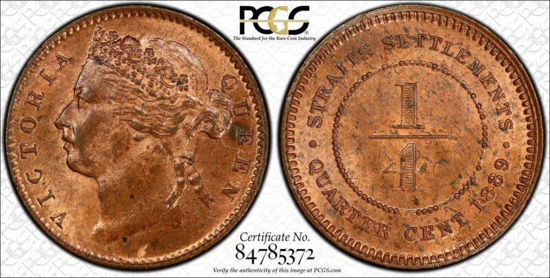 Straits Settlements 1/4 Cent 1889 MS64 RB PCGS KM#14 Victoria 2ND FINEST POP 3/1