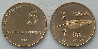 Slowenien / Slovenia 5 Tolarjev 1994 p16 unz.