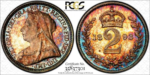 Great Britain Silver 1893 2 Pence PCGS PL66 RAINBOW TONED 1 Graded Highest KM776