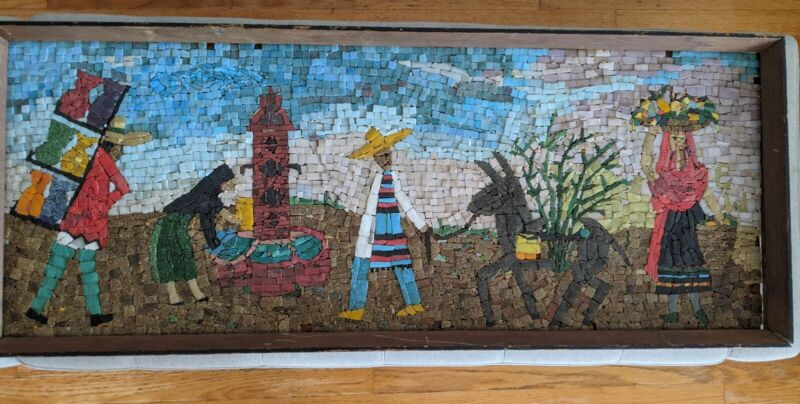 MOSAIC TILE WALL ART VINTAGE Mexican Square 1960