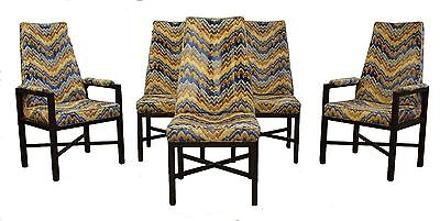 Mid Century Modern Dunbar Set of 5 Dining Chairs w/ Jack Lenor Larsen Fabric for sale  Walled Lake