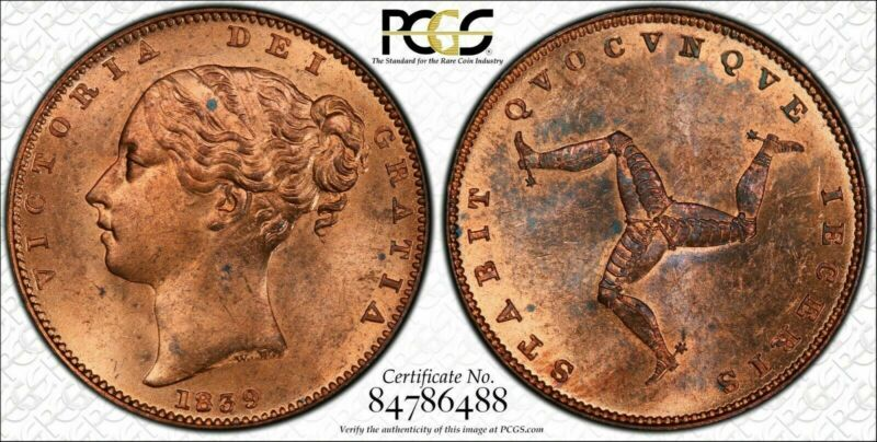 1839 Isle of Man Farthing PCGS MS63 Red Brown Lot#G584 Choice UNC!