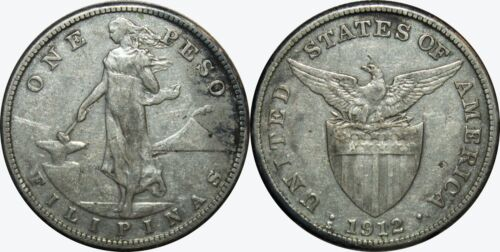 1912-S US/Philippines Peso ~ VF Details ~ A#17.07 ~ 80% Silver ~ Semi-Key Date