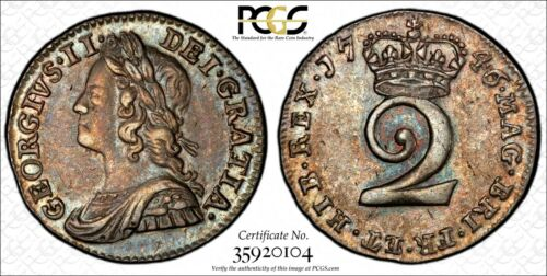 Great Britain George II Silver 1746 2 Pence PCGS AU58 Nice Toning KM# 568