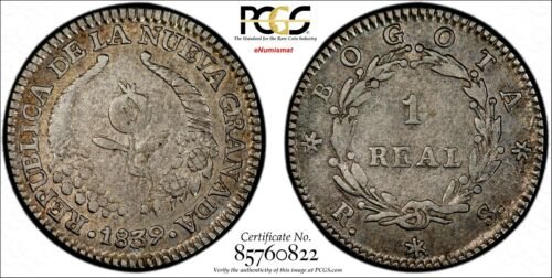 Colombia Silver 1839-RS 1 Real PCGS XF45 Ex.Eldorado Collect.TOP GRADED KM# 91.1