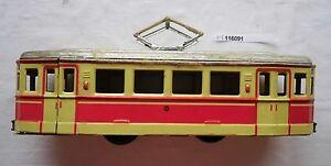 Spielzeug Straßenbahn aus Blech mit Schwungrad 60er Jahre