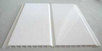 5 Gloss White Twin Wet Wall Panels PVC Ceiling Kitchen Cladding Bathroom Shower