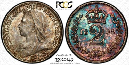Great Britain Silver 1898 2 Pence PCGS PL64 PROOFLIKE RAINBOW TONED KM# 776