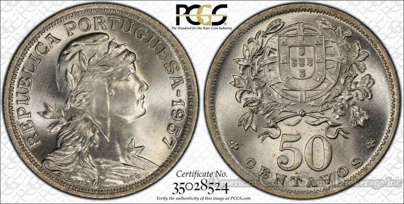 Portugal 50 Centavos 1957 MS66 PCGS copper-nickel KM#577 Finest Pop 2/0