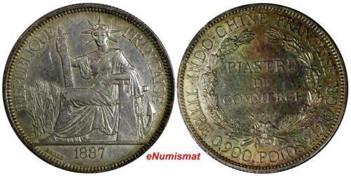 French Indo-China Silver 1887 A 1 Piastre AU Toned 39 mm KM# 5