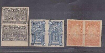 Dominican Republic 1899 Columbus Mausoleum 1/2c, 5c & 10c mint imperf pairs