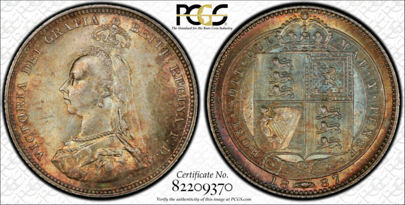 PCGS MS65 1887 Great Britain Shilling Victoria Jubilee Head Rainbow Toned