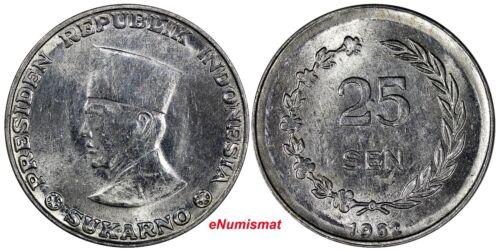 Indonesia  Aluminum 1962 25 Sen KM# 8.1