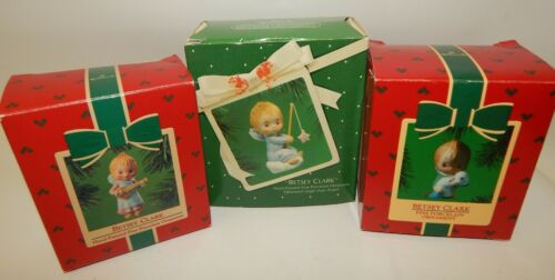 Lot of 3 Hallmark Betsey Clark Porcelain Christmas Ornaments