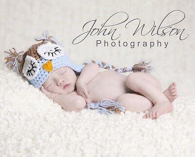 ***HANDMADE PHOTO PROP BABY BOY OWL HAT NEWBORN-3MTHS***