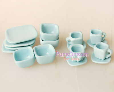 1:12 Scale Doll House Tableware 16PCS Porcelain Tea/Coffee set Dish Cup Plate