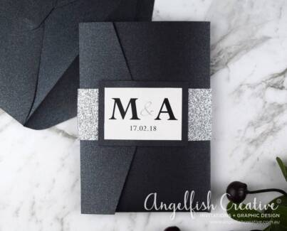 Wedding Invitations Glitter Wallet Printed Invite Set 8 Melbourne Cbd