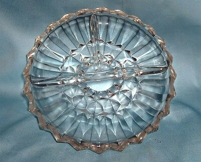 Candy Dish/Appetizer Dish Vintage Sectional Divided Pressed Glass Dish  Sectional Candy