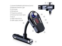 Wireless In Car Hands Free Kit | USB Charger | Play Music Through Your Stereo | For iPhone & More