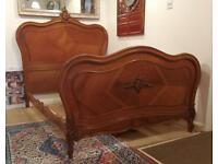 Antique French walnut double bed