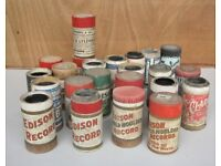 Old Edison Bell Gramaphone record wax cylinder reels -- really old . 50 of them