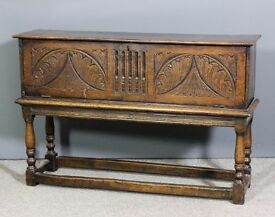 Antique Elm Coffer Chest on Oak Stand in good Condition