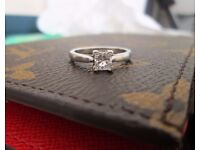 950 Platinum .40ct Princess Cut Diamond Engagement Ring Size J 1/2 Looks New