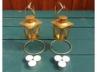 2 x BRASS TEA LIGHT LANTERNS + STANDS INC. 6 x TEALIGHT CANDLES - bargain - £ 12
