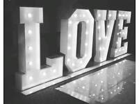 GIANT LIGHT UP LETTERS/NUMBERS FOR HIRE ONLY £55! LOVE, MR&MRS, BABY STARTING ONLY £50!