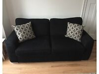 Black Fabric Sofa/Settee/Suite, footstool and Cushions