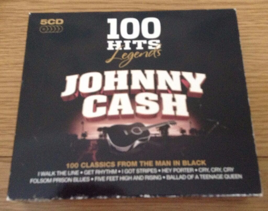 Johnny Cash Legends 100 Hits 5 CD Box Set Fathers Day Giftin Cheltenham, GloucestershireGumtree - Johnny Cash Legends. 5 CD Box Set. 100 Hits. Cds play As New. Cd cases As New. Outer Box is a little worn on the edges. 100 Classics from the Man in Black. Asking price only. If you email me with any questions please check your spam folder for a...