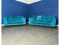 BRAND NEW Designer Teal Blue Plush Velvet 3 Seater Sofa + 2 Seater Sofa Set with Metal Atom Legs.