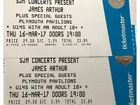 2 standing tickets to see James Arthur at Plymouth Pavilions