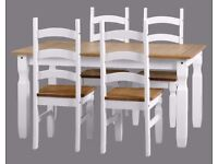 New & boxed grey or white Solid Corona 5ft dining table & 4 chairs £299 available today