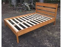 Solid oak double bed frame with mattress £135